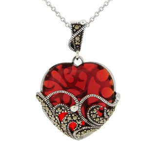Glitzy Rocks Silvertone Red Glass and Marcasite Heart Necklace
