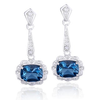 Glitzy Rocks Sterling Silver London Blue Topaz and Diamond Accent Flower Drop Earrings