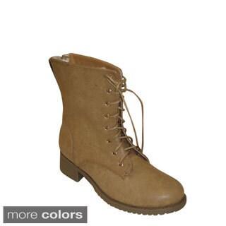 Reneeze Women's 'Alice-12' Mid-calf Studed Combat Boots