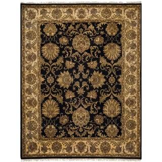 Safavieh Hand-knotted Jaipur Black/ Ivory Wool Rug (8' x 10')