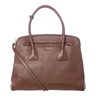 Prada Large Brown Saffiano Leather Tote