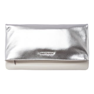 Saint Laurent Platinum Metallic Leather Clutch