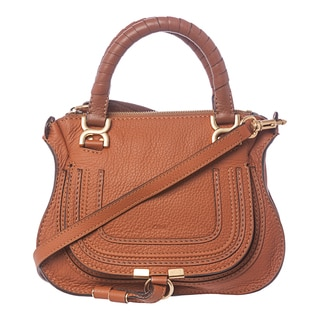 Chloe 'Baby Marcie' Tan Grainy Leather Crossbody Bag