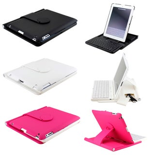 Gearonic 360 Rotating Stand Case Bluetooth Keyboard for iPad 4 3 2