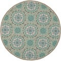Safavieh Indoor/ Outdoor Four Seasons Mint/ Aqua Rug (6' Round)