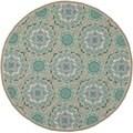 Safavieh Indoor/ Outdoor Four Seasons Mint/ Aqua Rug (4' Round)