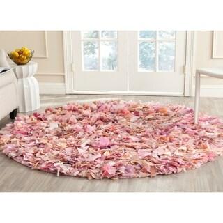 Safavieh Hand-woven Shag Ivory/ Pink Polyester Rug (6' Round)