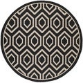 Safavieh Indoor/ Outdoor Courtyard Black/ Beige Rug (7'10 Round)