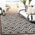 Safavieh Indoor/ Outdoor Courtyard Black/ Beige Rug (7'10 Square)