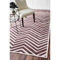 nuLOOM Modern Chevron Brown Faux Silk Rug (7'7 x 10')