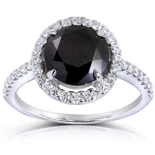 Annello 18k Gold 3 3/5ct TDW Round Black and White Diamond Halo Ring (G-H, VS1-VS2)
