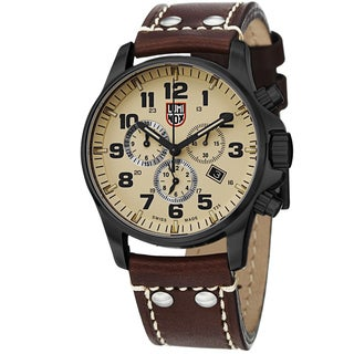 Luminox Men's A.1947 'Atacama' Cream Dial Brown Leather