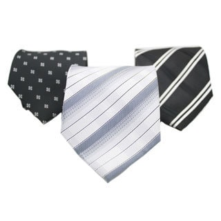 Ferrecci Black/ Grey Neck Tie and Handkerchief Pair (Set of 3 pairs)