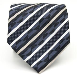Ferrecci Grey/ Blue Striped Neck Tie and Handkerchief Set