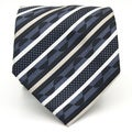 Ferrecci Grey/ Blue Striped Neck Tie and Handkerchief Set