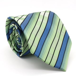 Ferrecci Green/ Blue Striped Neck Tie and Handkerchief Set