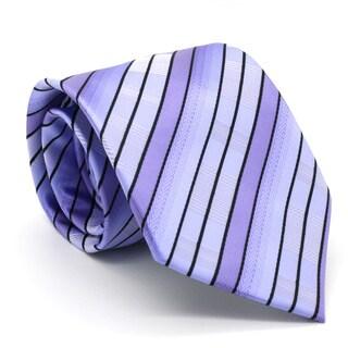 Ferrecci Purple Striped Neck Tie and Handkerchief Set