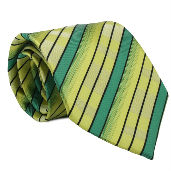 Ferrecci Green/ Yellow Striped Neck Tie and Handkerchief Set