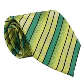 Ferrecci Green/ Yellow Striped Neck Tie and Handkerchief Set