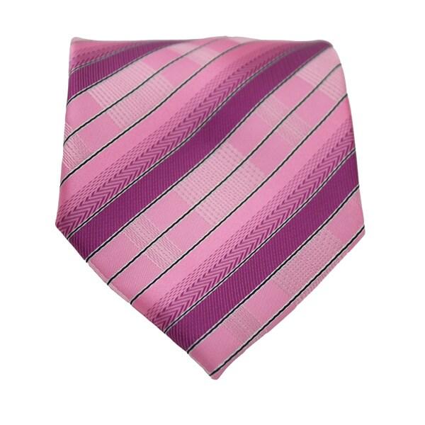 Ferrecci Pink Striped Neck Tie and Handkerchief Set