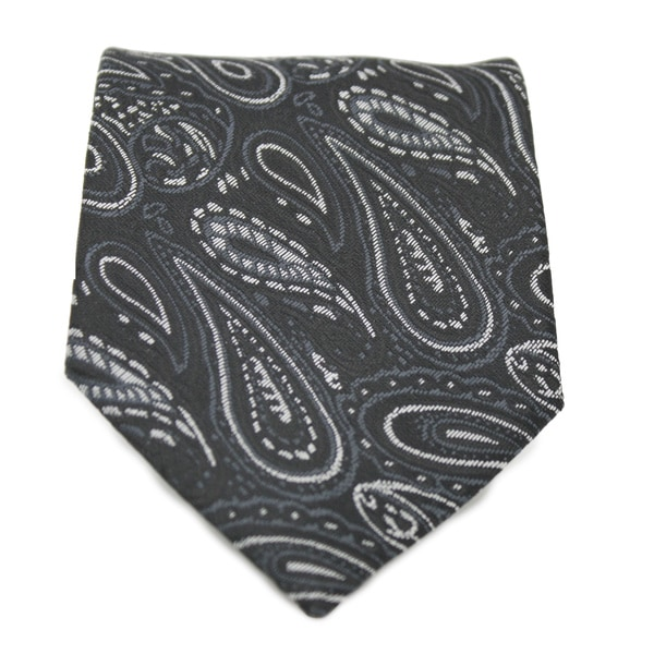 Ferrecci Black Paisley Print Neck Tie and Handkerchief Set