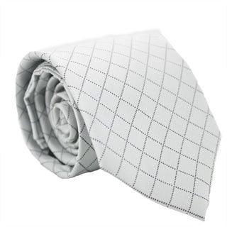 Ferrecci Silver/ Gray Diamond Checkered Neck Tie and Handkerchief Set