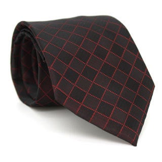 Ferrecci Burgundy Diamond Checkered Neck Tie and Handkerchief Set