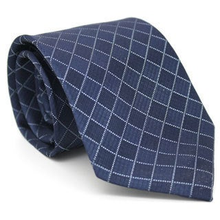 Ferrecci Blue Diamond Checkered Neck Tie and Handkerchief Set