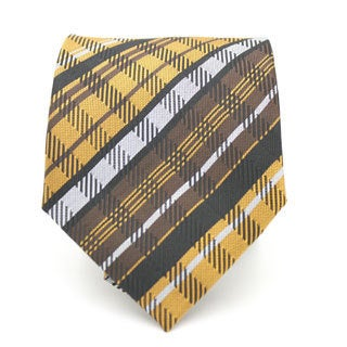 Ferrecci Yellow/ Brown Plaid Neck Tie and Handkerchief Set