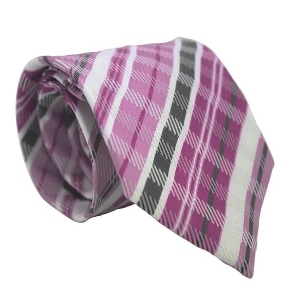 Ferrecci Purple/ Pink Plaid Neck Tie and Handkerchief Set