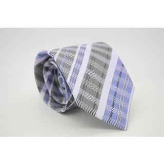 Ferrecci Classic Slim Pink Plaid Necktie with Matching Handkerchief - Tie Set