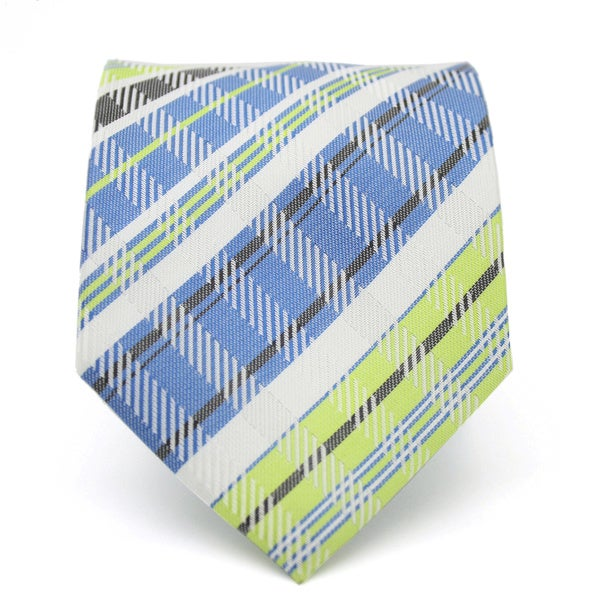 Ferrecci Classic Slim Green and Blue Plaid Necktie with Matching Handkerchief - Tie Set