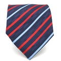 Ferrecci Slim Red & Blue Classic Striped Necktie with Matching Handkerchief - Tie Set