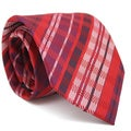 Ferrecci Slim Red Plaid Classic Necktie with Matching Handkerchief - Tie Set