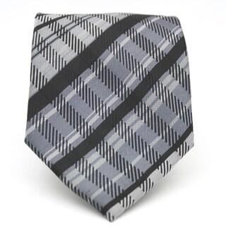 Ferrecci Slim Black Plaid Classic Necktie with Matching Handkerchief - Tie Set