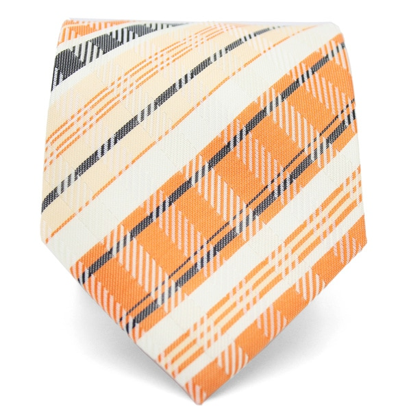 Ferrecci Slim Orange Cream Plaid Classic Necktie with Matching Handkerchief - Tie Set