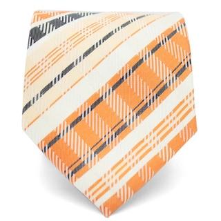 Ferrecci Slim Orange Cream Plaid Classic Necktie with Matching Handkerchief - Tie Set