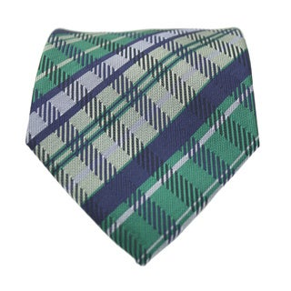 Ferrecci Slim Green and Blue Plaid Classic Necktie with Matching Handkerchief - Tie Set