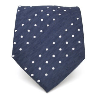 Ferrecci Slim Navy Blue Polka Dot Classic Necktie with Matching Handkerchief - Tie Set