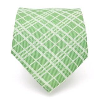 Ferrecci Slim Green Striped Gentlemans Necktie with Matching Handkerchief - Tie Set