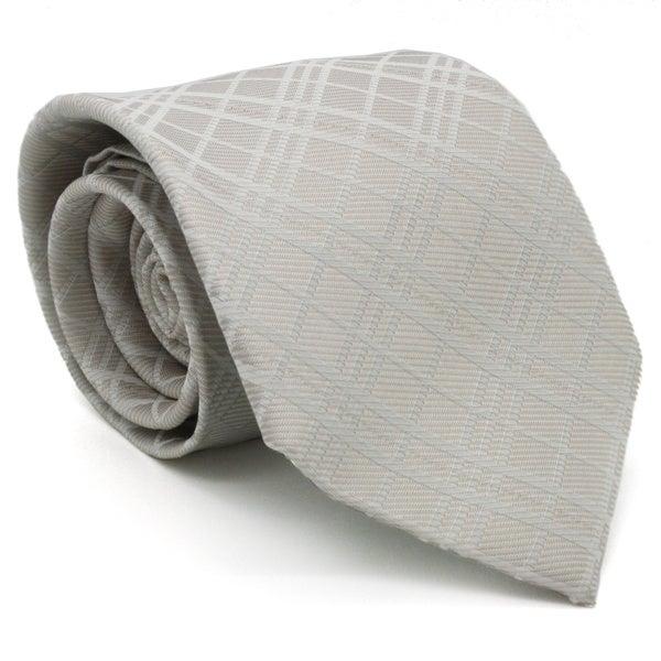 Ferrecci Slim Cream White Gentlemans Necktie with Matching Handkerchief - Tie Set