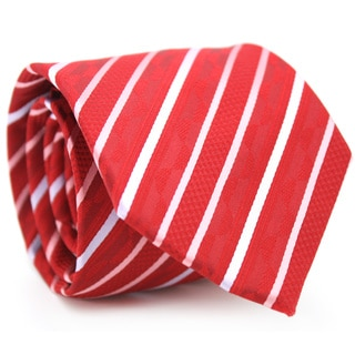 Ferrecci Slim Classic Red Striped Necktie with Matching Handkerchief - Tie Set