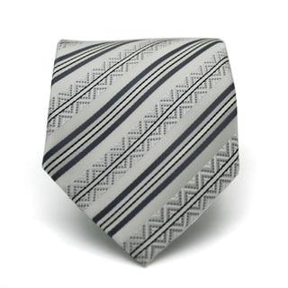 Ferrecci Slim Classic Gray Striped Necktie with Matching Handkerchief - Tie Set
