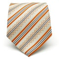 Ferrecci Slim Classic Orange Striped Necktie with Matching Handkerchief - Tie Set