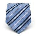 Ferrecci Slim Classic Blue Striped Necktie with Matching Handkerchief - Tie Set
