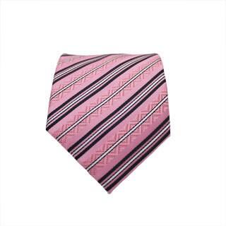 Ferrecci Slim Classic Pink Striped Necktie with Matching Handkerchief - Tie Set
