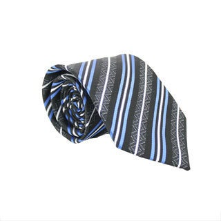 Ferrecci Slim Classic Blue and Black Striped Necktie with Matching Handkerchief - Tie Set