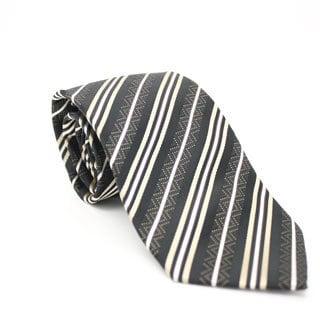 Ferrecci Slim Classic Brown Striped Necktie with Matching Handkerchief - Tie Set
