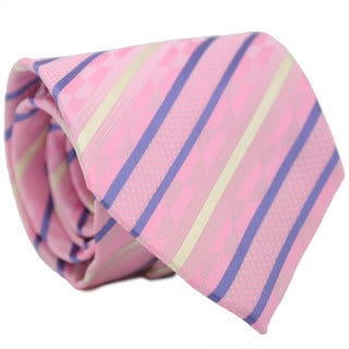 Ferrecci Slim Classic Pink Striped Necktie with Matching Handkerchief - Tie Set