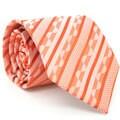 Ferrecci Slim Classic Orange Striped Necktie with Matching Handkerchief - Tie Set